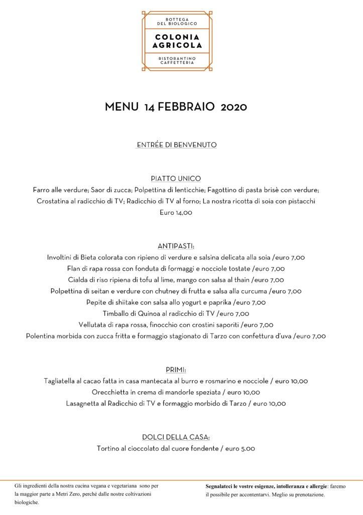 menù San Valentino 2020 Colonia Agricola