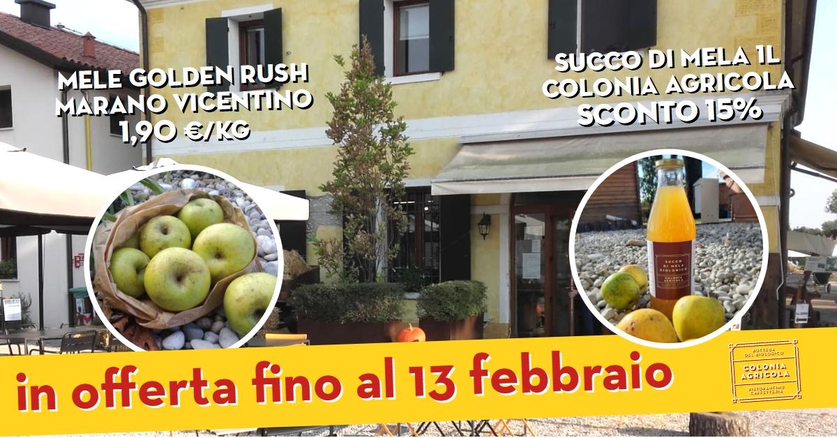 promo mele Golden Rush e succo di mela 1l Colonia Agricola