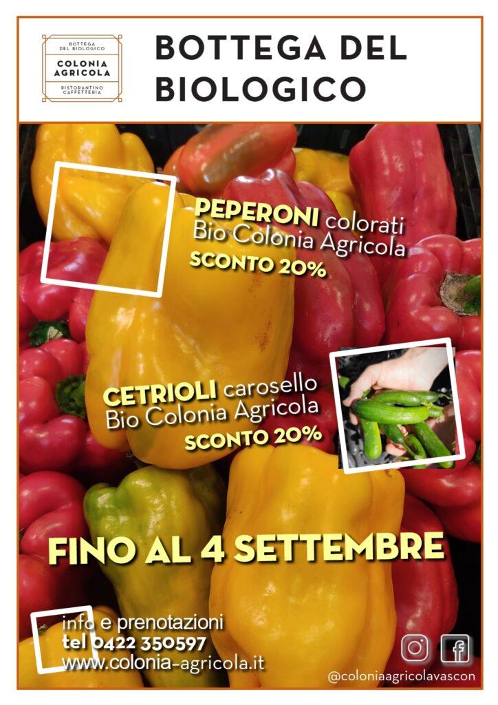 Peperoni colorati e cetrioli carosello nostra produzione in offerta fino a sabato 4 settembre 2021